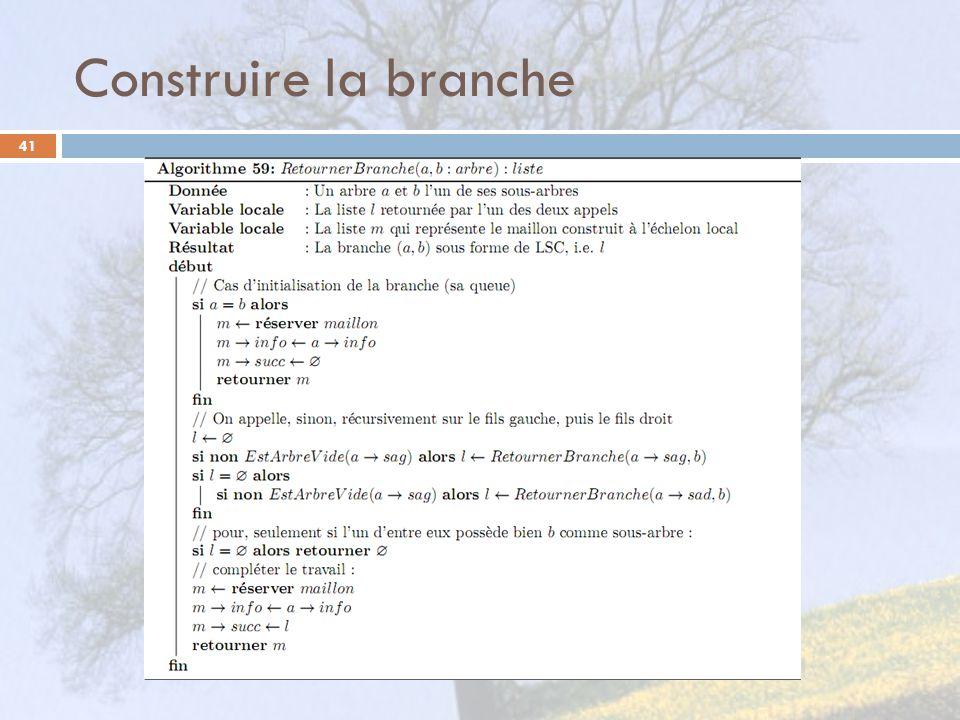 Construire la branche 41