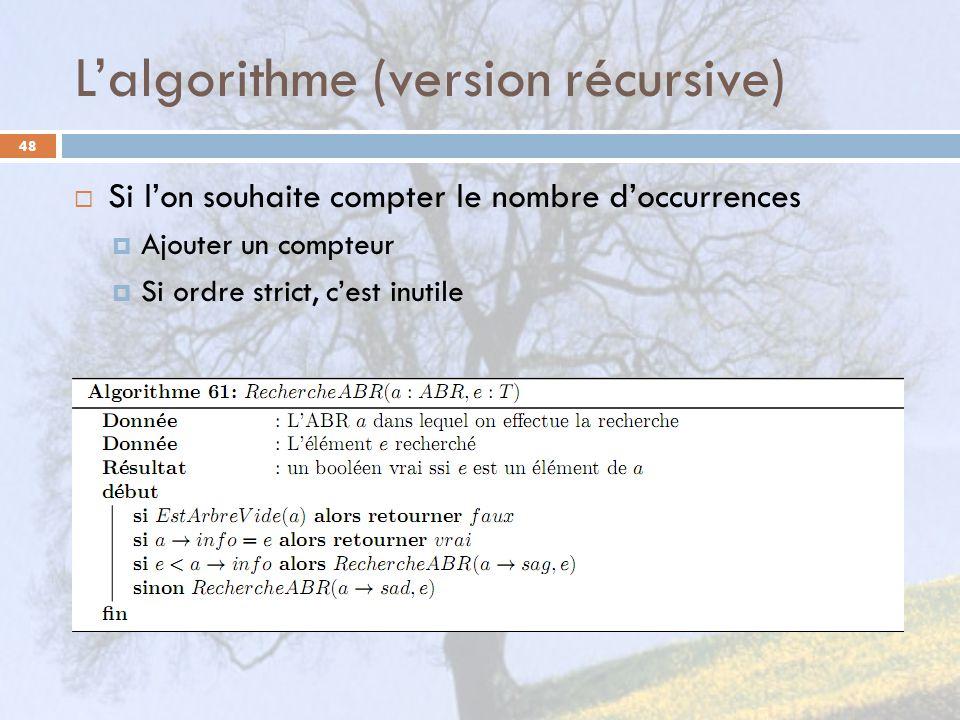 Lalgorithme (version récursive) 48 Si lon souhaite compter le nombre doccurrences Ajouter un compteur Si ordre strict, cest inutile