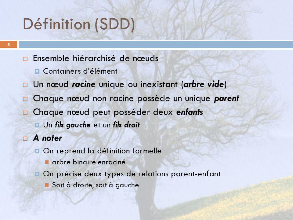 Définition (SDD) 5 Ensemble hiérarchisé de nœuds Containers délément Un nœud racine unique ou inexistant (arbre vide) Chaque nœud non racine possède u