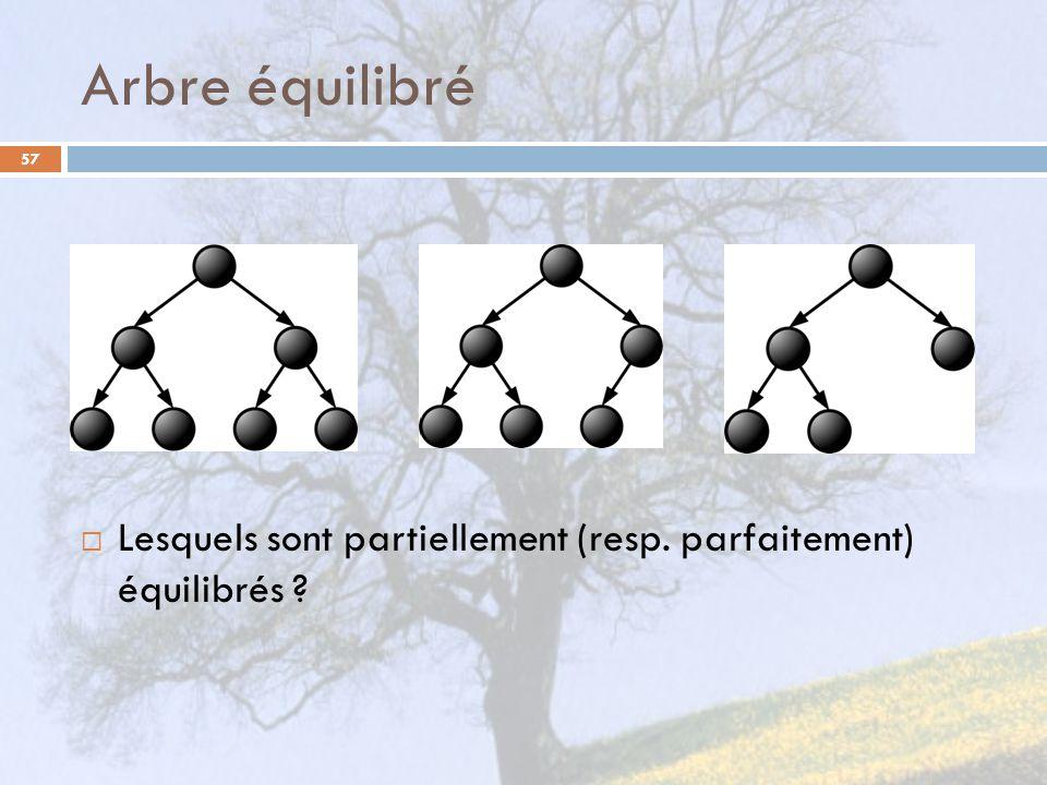 Arbre équilibré 57 Lesquels sont partiellement (resp. parfaitement) équilibrés ?