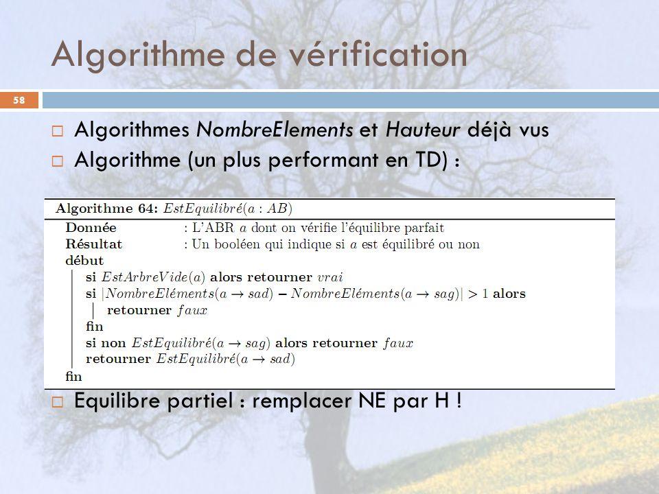 Algorithme de vérification 58 Algorithmes NombreElements et Hauteur déjà vus Algorithme (un plus performant en TD) : Equilibre partiel : remplacer NE par H !