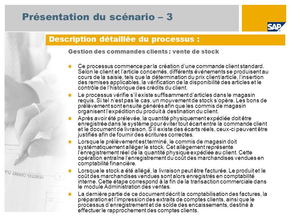 Présentation du scénario – 3 Gestion des commandes clients : vente de stock Ce processus commence par la création dune commande client standard. Selon