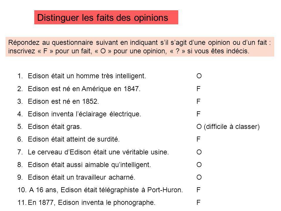 Distinguer les faits des opinions Répondez au questionnaire suivant en indiquant sil sagit dune opinion ou dun fait : inscrivez « F » pour un fait, « O » pour une opinion, « .