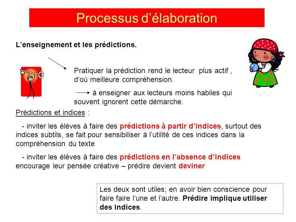 Processus délaboration Lenseignement et les prédictions. Pratiquer la prédiction rend le lecteur plus actif, doù meilleure compréhension. à enseigner