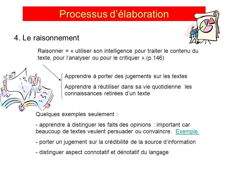 Processus délaboration 4. Le raisonnement Raisonner = « utiliser son intelligence pour traiter le contenu du texte, pour lanalyser ou pour le critique