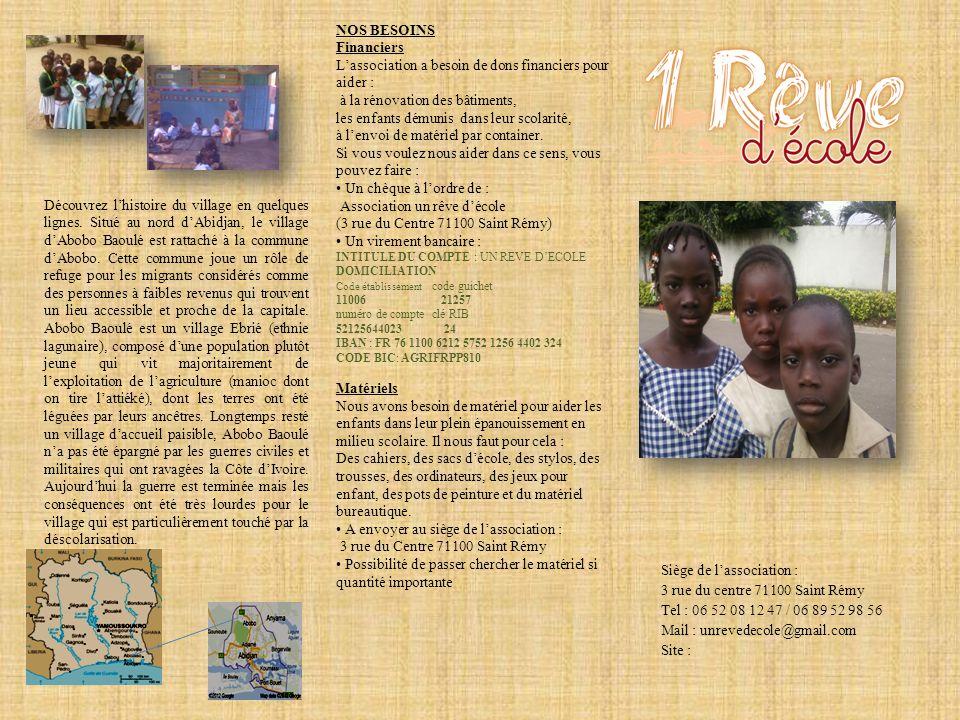 Siège de lassociation : 3 rue du centre 71100 Saint Rémy Tel : 06 52 08 12 47 / 06 89 52 98 56 Mail : unrevedecole@gmail.com Site : Découvrez lhistoir