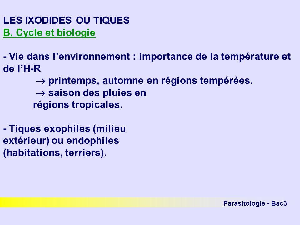 LES IXODIDES OU TIQUES B. Cycle et biologie - Vie dans lenvironnement : importance de la température et de lH-R printemps, automne en régions tempérée