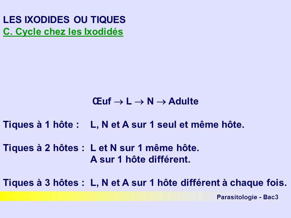 Parasitologie - Bac3 LES IXODIDES OU TIQUES C. Cycle chez les Ixodidés Œuf L N Adulte Tiques à 1 hôte :L, N et A sur 1 seul et même hôte. Tiques à 2 h