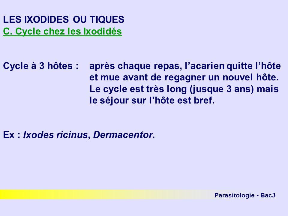 Parasitologie - Bac3 LES IXODIDES OU TIQUES C. Cycle chez les Ixodidés Cycle à 3 hôtes :après chaque repas, lacarien quitte lhôte et mue avant de rega