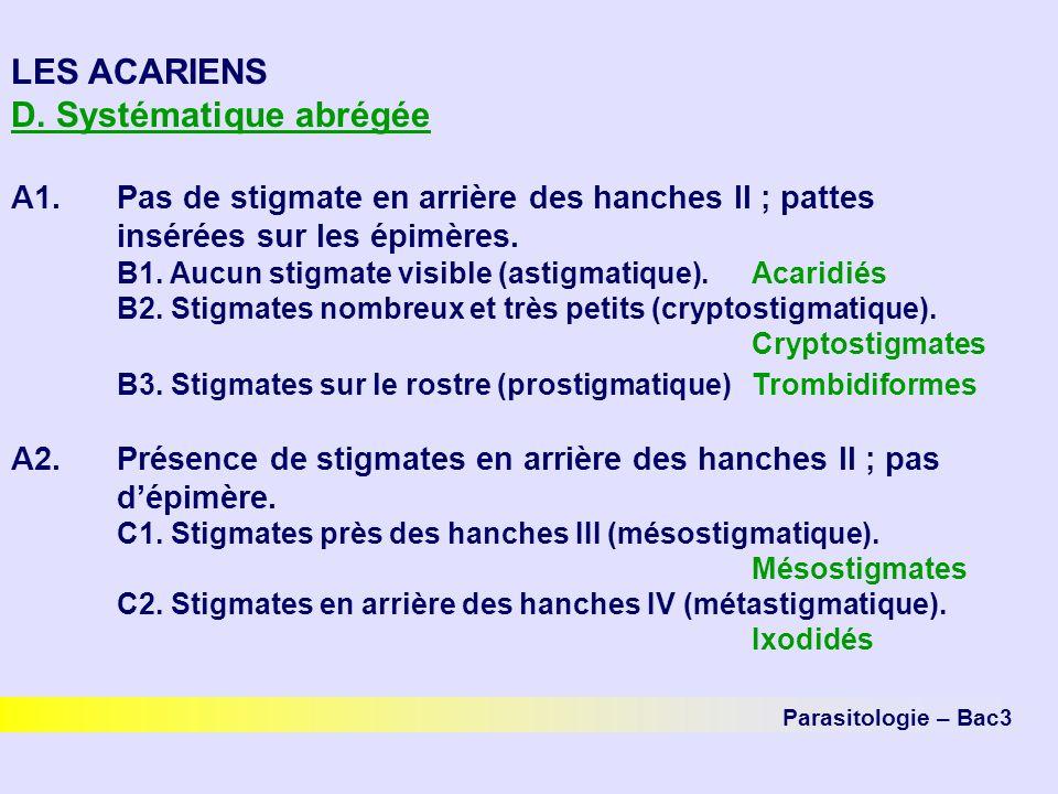 Parasitologie – Bac3 LES ACARIENS D. Systématique abrégée A1.Pas de stigmate en arrière des hanches II ; pattes insérées sur les épimères. B1. Aucun s