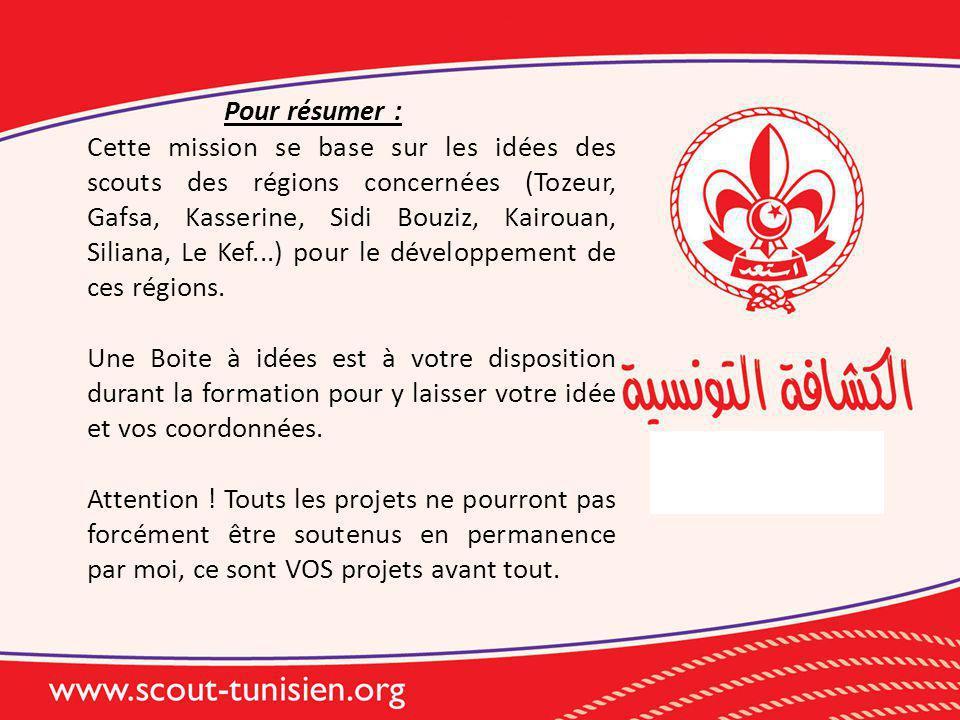 Pour résumer : Cette mission se base sur les idées des scouts des régions concernées (Tozeur, Gafsa, Kasserine, Sidi Bouziz, Kairouan, Siliana, Le Kef...) pour le développement de ces régions.