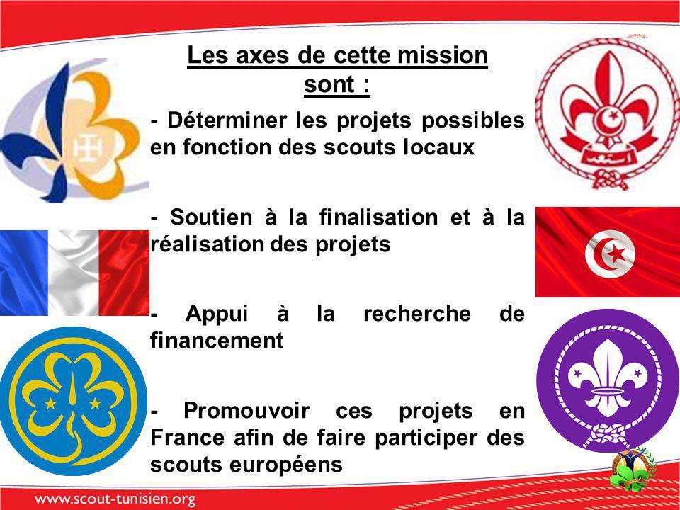 Les axes de cette mission sont : - Déterminer les projets possibles en fonction des scouts locaux - Soutien à la finalisation et à la réalisation des projets - Appui à la recherche de financement - Promouvoir ces projets en France afin de faire participer des scouts européens