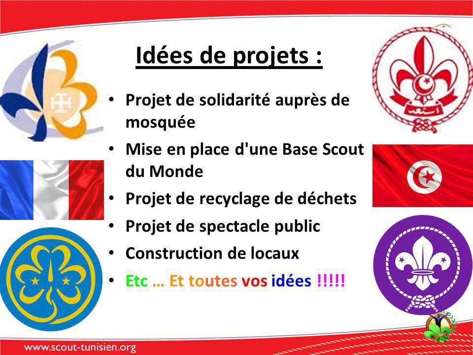 Projet de solidarité auprès de mosquée Mise en place d une Base Scout du Monde Projet de recyclage de déchets Projet de spectacle public Construction de locaux Etc … Et toutes vos idées !!!!.