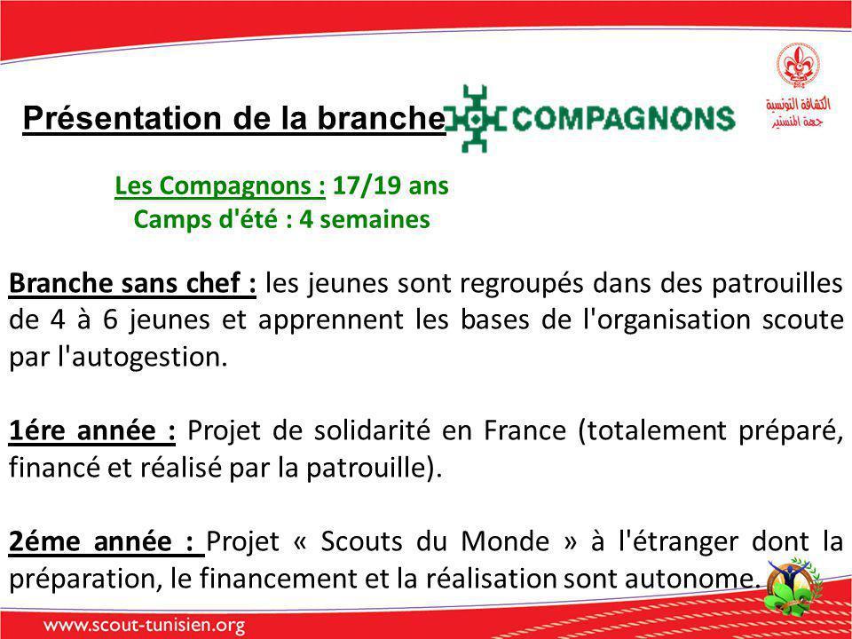 Présentation de la branche Les Compagnons : 17/19 ans Camps d'été : 4 semaines Branche sans chef : les jeunes sont regroupés dans des patrouilles de 4