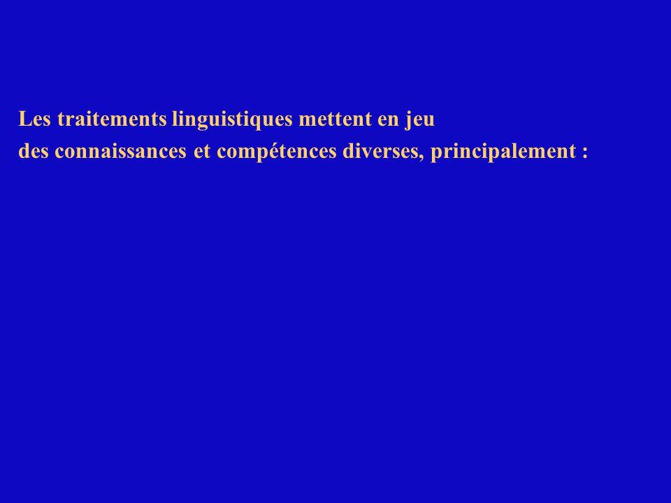 Exemple de difficulté dans les traitements linguistiques :