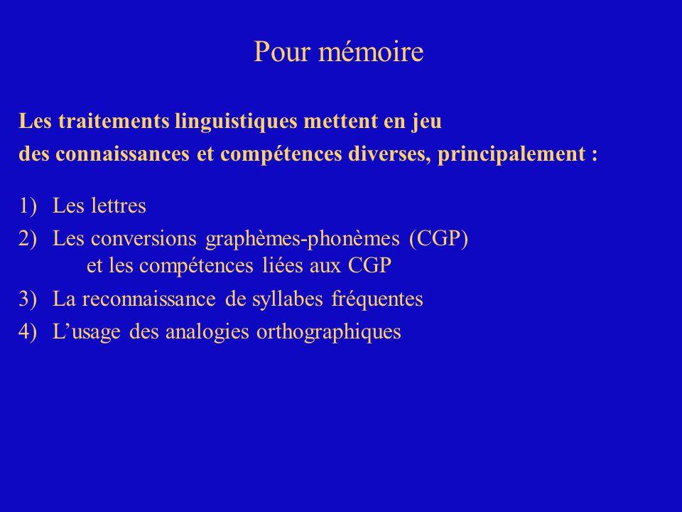 Les traitements linguistiques mettent en jeu des connaissances et compétences diverses, principalement : 1)Les lettres 2)Les conversions graphèmes-phonèmes (CGP) et les compétences liées aux CGP 3)La reconnaissance de syllabes fréquentes Pour mémoire