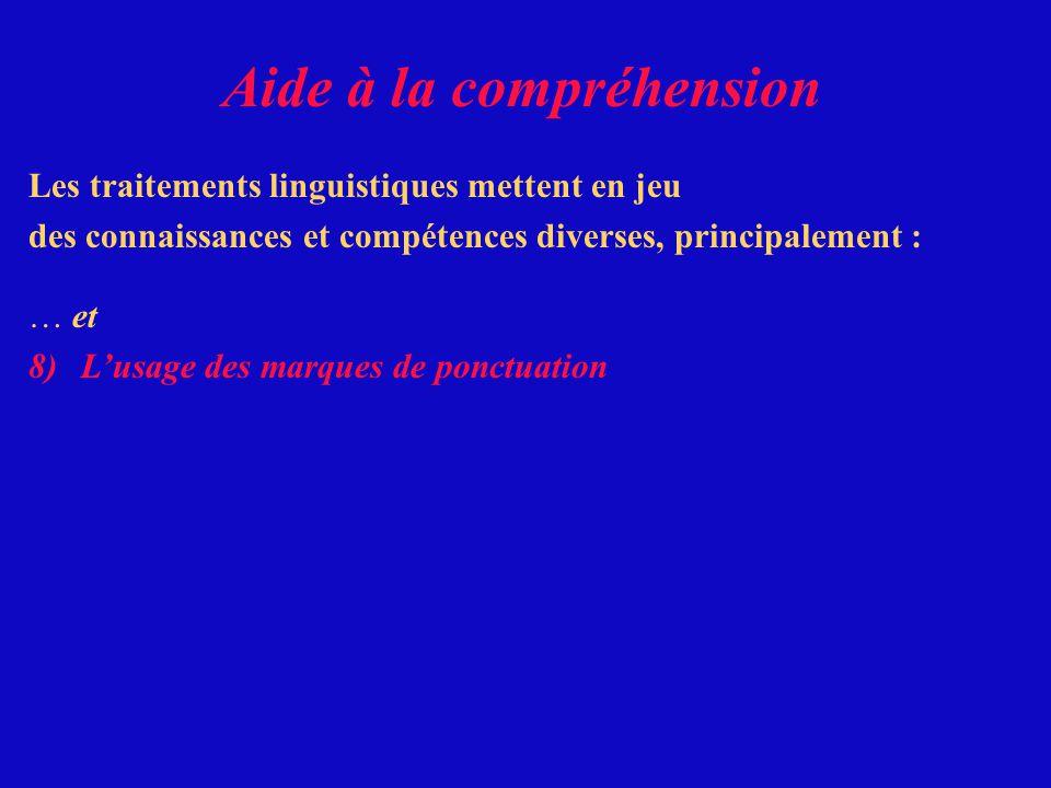 Les traitements linguistiques mettent en jeu des connaissances et compétences diverses, principalement : … et Aide à la compréhension