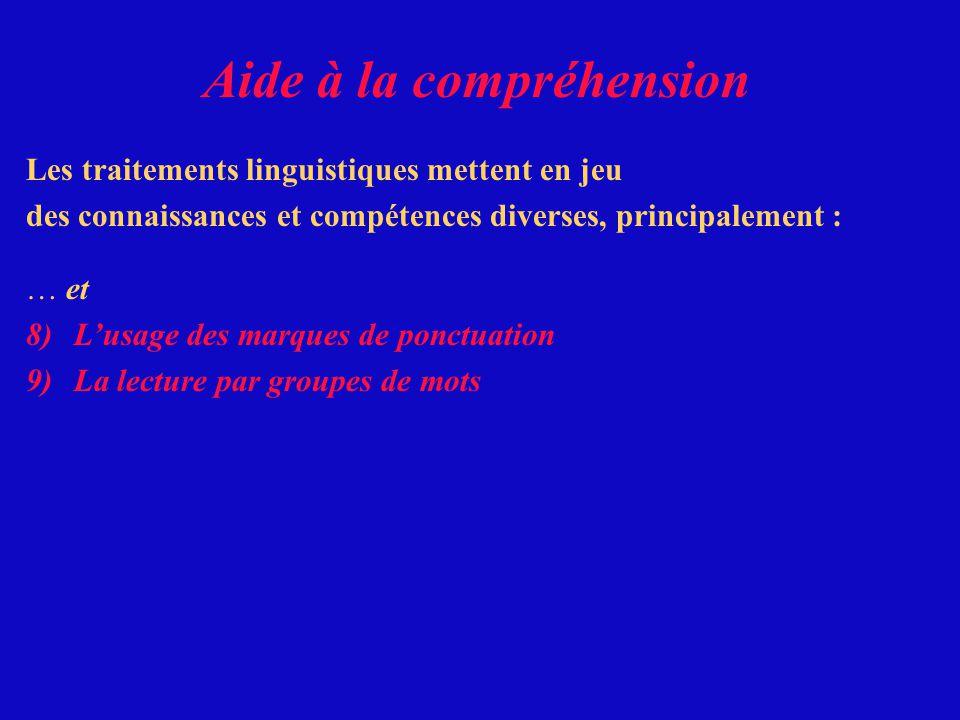 Les traitements linguistiques mettent en jeu des connaissances et compétences diverses, principalement : … et 8)Lusage des marques de ponctuation Aide à la compréhension
