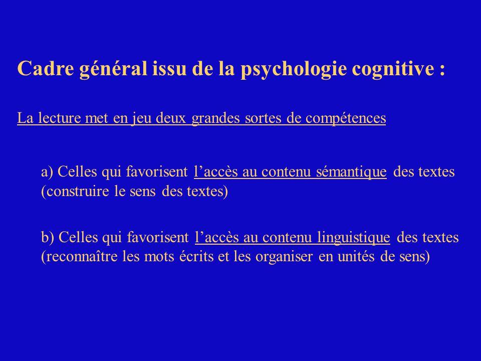Cadre général issu de la psychologie cognitive : La lecture met en jeu deux grandes sortes de compétences a) Celles qui favorisent laccès au contenu sémantique des textes (construire le sens des textes)