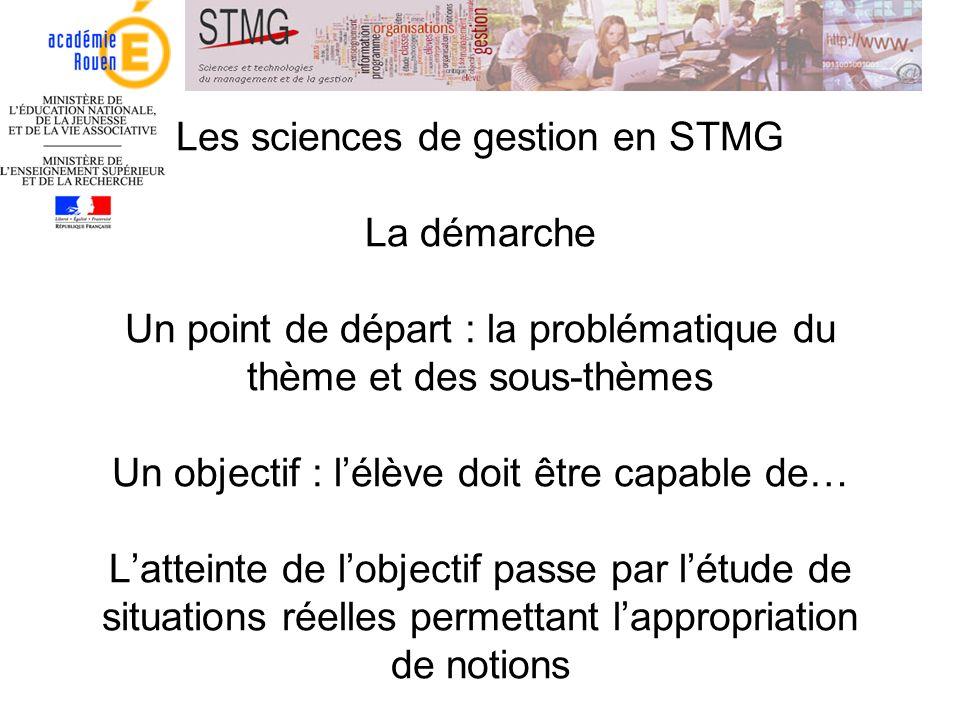 Les sciences de gestion en STMG La démarche Un point de départ : la problématique du thème et des sous-thèmes Un objectif : lélève doit être capable d