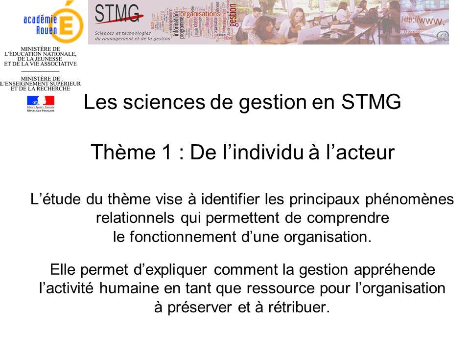 Les sciences de gestion en STMG Thème 1 : De lindividu à lacteur Létude du thème vise à identifier les principaux phénomènes relationnels qui permette