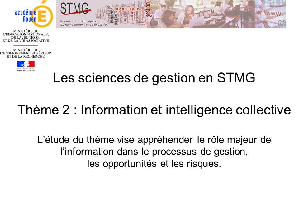 Les sciences de gestion en STMG Thème 2 : Information et intelligence collective Létude du thème vise appréhender le rôle majeur de linformation dans