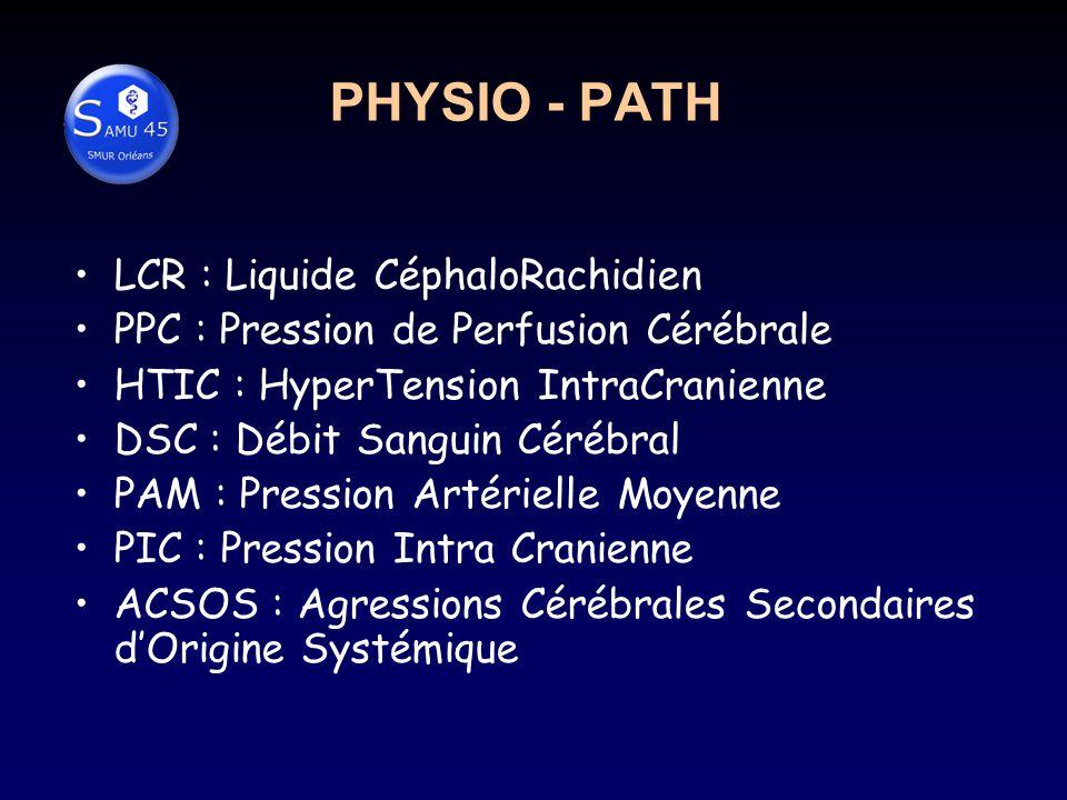 PHYSIO - PATH LCR : Liquide CéphaloRachidien PPC : Pression de Perfusion Cérébrale HTIC : HyperTension IntraCranienne DSC : Débit Sanguin Cérébral PAM : Pression Artérielle Moyenne PIC : Pression Intra Cranienne ACSOS : Agressions Cérébrales Secondaires dOrigine Systémique