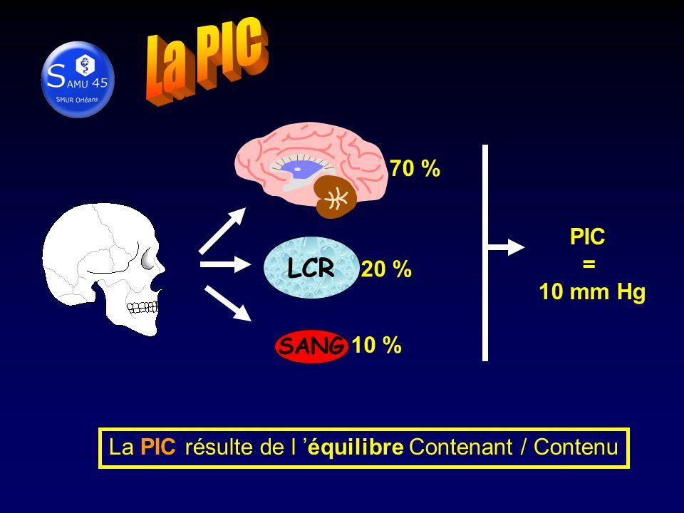 70 % LCR 20 % SANG 10 % PIC = 10 mm Hg La PIC résulte de l équilibre Contenant / Contenu