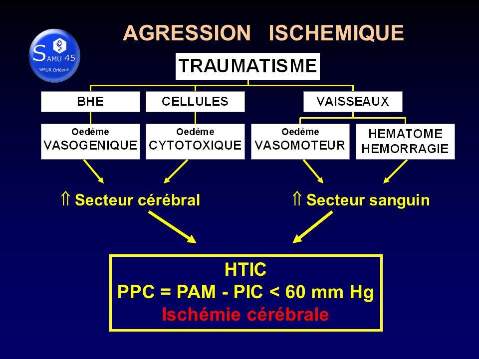 Secteur cérébral Secteur sanguin HTIC PPC = PAM - PIC < 60 mm Hg Ischémie cérébrale AGRESSION ISCHEMIQUE