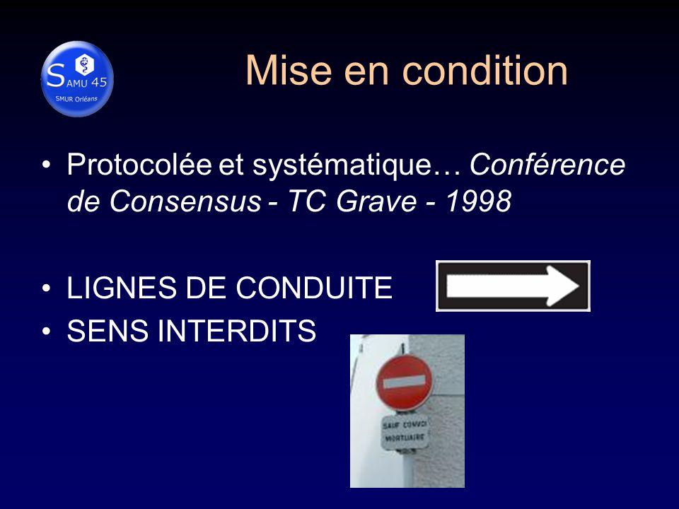 Mise en condition Protocolée et systématique… Conférence de Consensus - TC Grave - 1998 LIGNES DE CONDUITE SENS INTERDITS