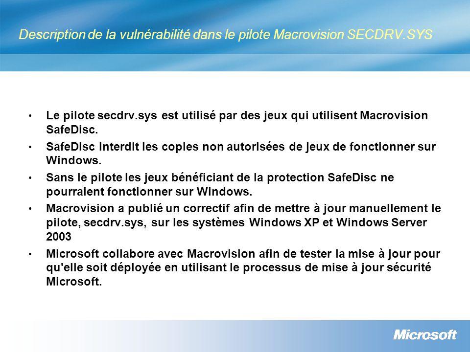 Description de la vulnérabilité dans le pilote Macrovision SECDRV.SYS Le pilote secdrv.sys est utilisé par des jeux qui utilisent Macrovision SafeDisc.