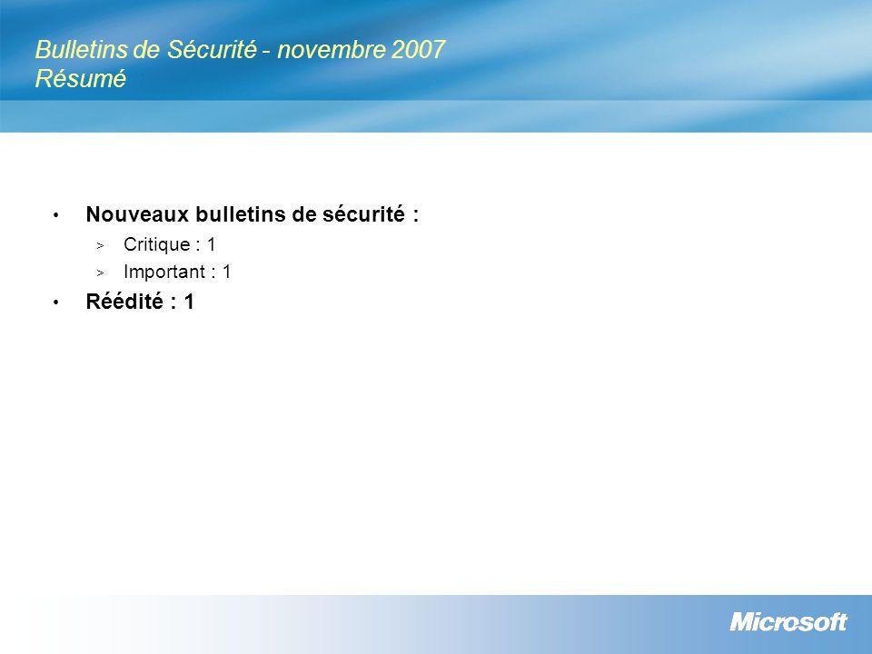 Bulletins de Sécurité - novembre 2007 Résumé Nouveaux bulletins de sécurité : > Critique : 1 > Important : 1 Réédité : 1