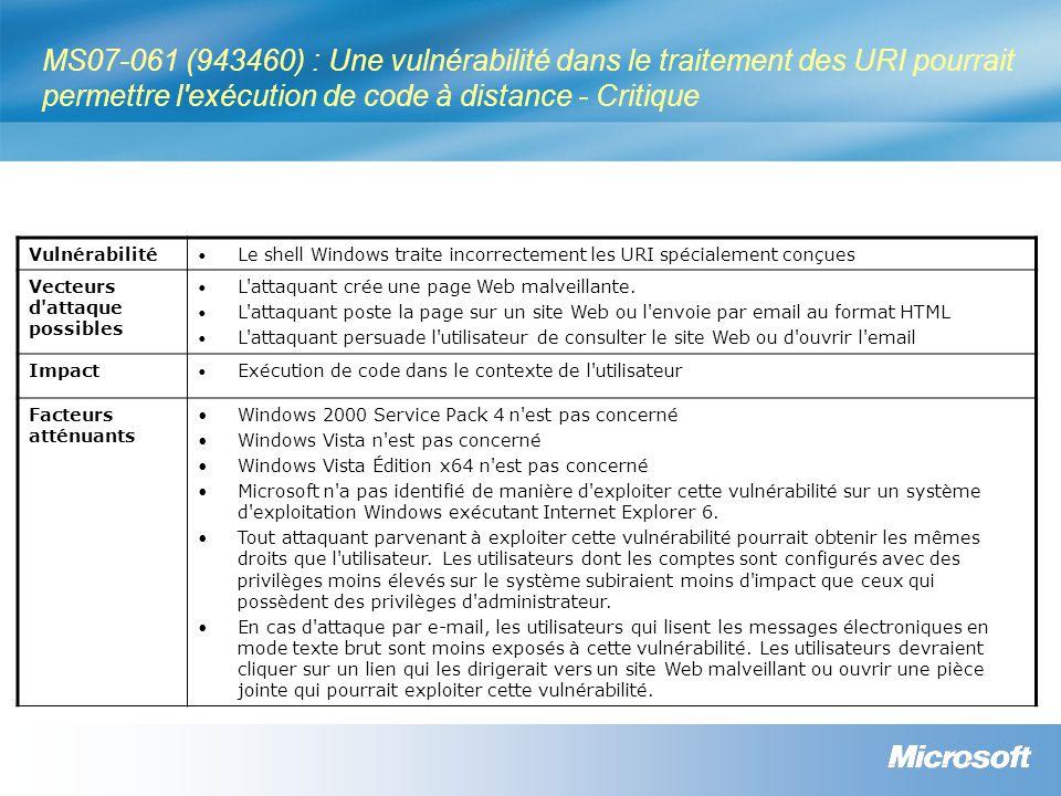 MS07-061 (943460) : Une vulnérabilité dans le traitement des URI pourrait permettre l exécution de code à distance - Critique Vulnérabilité Le shell Windows traite incorrectement les URI spécialement conçues Vecteurs d attaque possibles L attaquant crée une page Web malveillante.