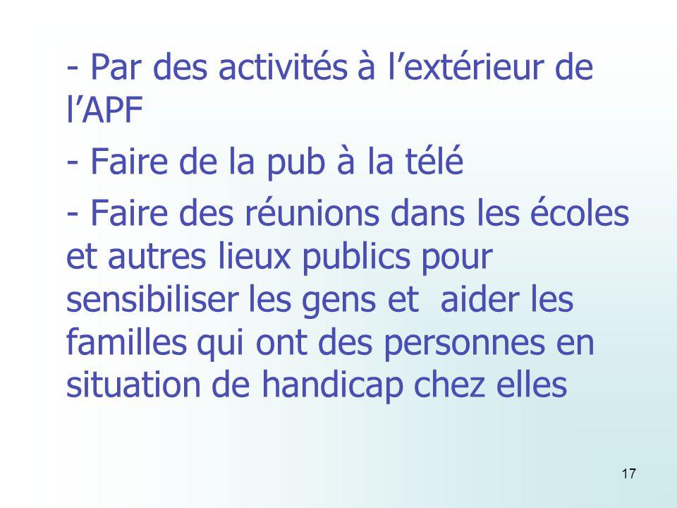 17 - Par des activités à lextérieur de lAPF - Faire de la pub à la télé - Faire des réunions dans les écoles et autres lieux publics pour sensibiliser les gens et aider les familles qui ont des personnes en situation de handicap chez elles