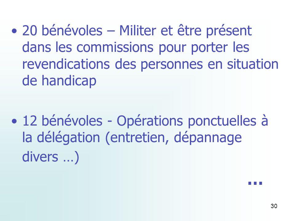30 20 bénévoles – Militer et être présent dans les commissions pour porter les revendications des personnes en situation de handicap 12 bénévoles - Opérations ponctuelles à la délégation (entretien, dépannage divers …) …