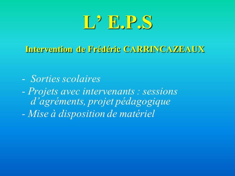 L E.P.S Intervention de Frédéric CARRINCAZEAUX L E.P.S Intervention de Frédéric CARRINCAZEAUX -Sorties scolaires - Projets avec intervenants : session