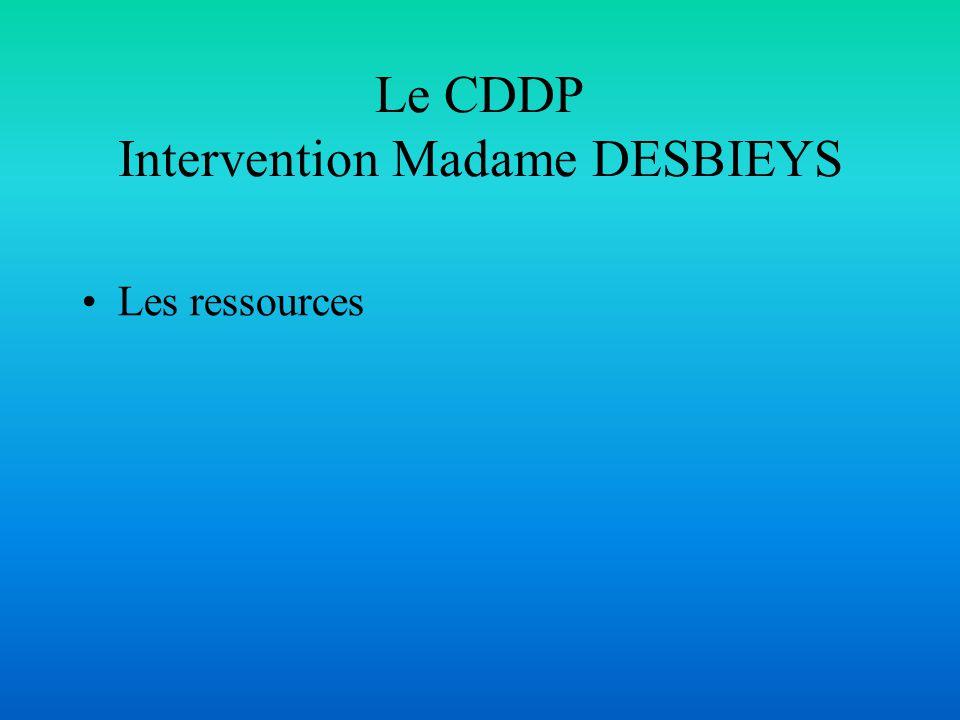 Le CDDP Intervention Madame DESBIEYS Les ressources