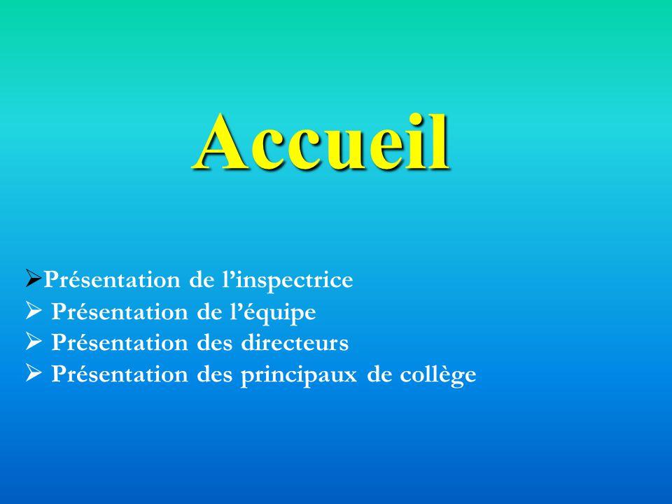 Accueil Présentation de linspectrice Présentation de léquipe Présentation des directeurs Présentation des principaux de collège