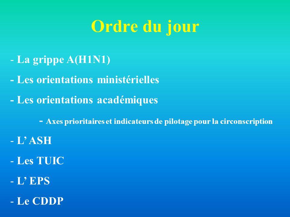 Ordre du jour - La grippe A(H1N1) - Les orientations ministérielles - Les orientations académiques - Axes prioritaires et indicateurs de pilotage pour