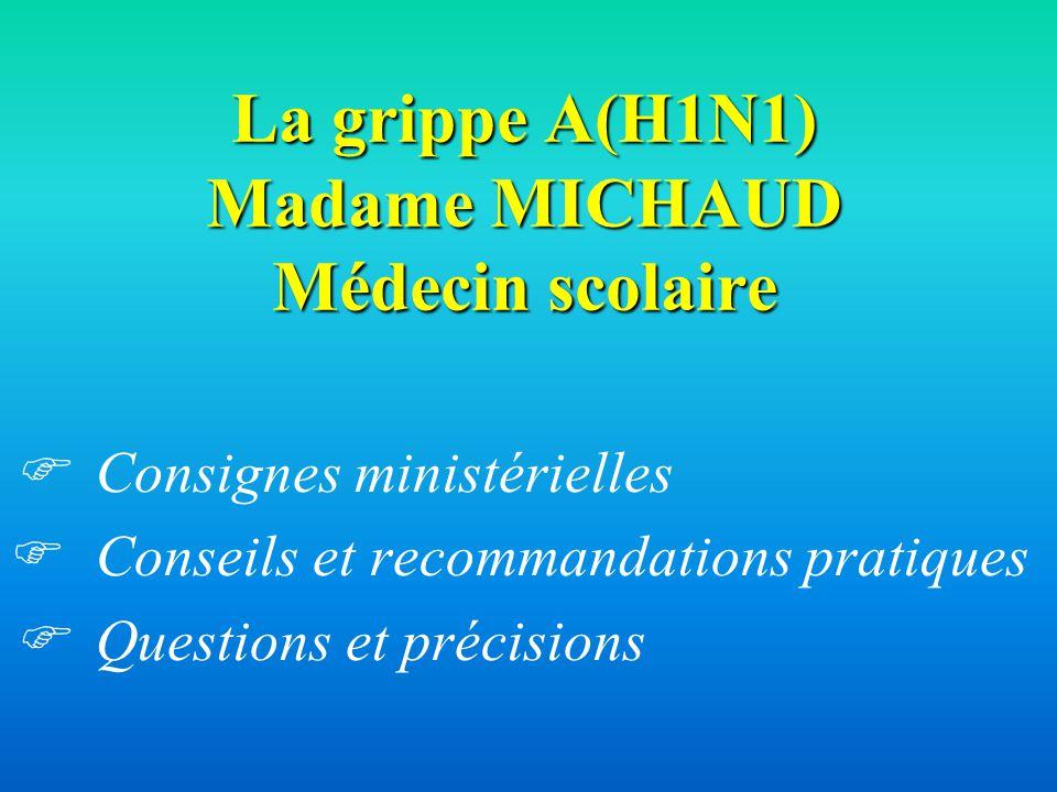 La grippe A(H1N1) Madame MICHAUD Médecin scolaire Consignes ministérielles Conseils et recommandations pratiques Questions et précisions