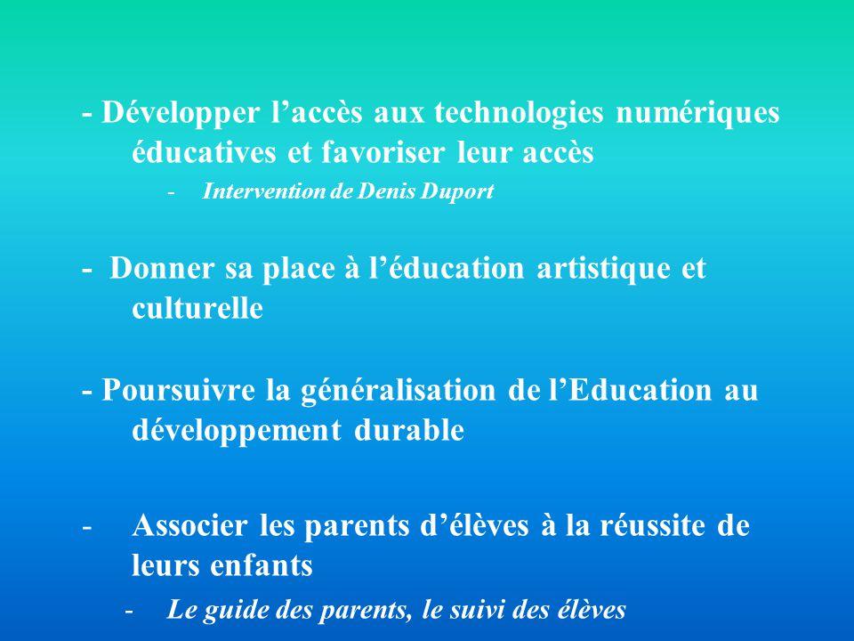 - Développer laccès aux technologies numériques éducatives et favoriser leur accès -Intervention de Denis Duport - Donner sa place à léducation artist