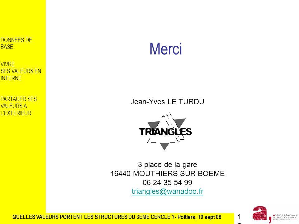 QUELLES VALEURS PORTENT LES STRUCTURES DU 3EME CERCLE ?- Poitiers, 10 sept 08 DONNEES DE BASE VIVRE SES VALEURS EN INTERNE PARTAGER SES VALEURS A LEXTERIEUR Merci Jean-Yves LE TURDU 3 place de la gare 16440 MOUTHIERS SUR BOEME 06 24 35 54 99 triangles@wanadoo.fr16