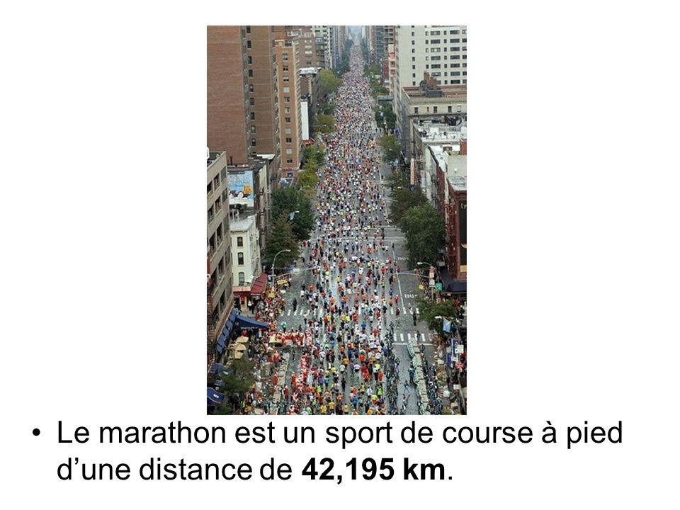Le marathon est un sport de course à pied dune distance de 42,195 km.