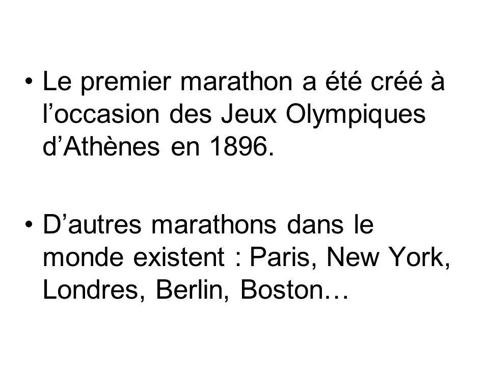 Le premier marathon a été créé à loccasion des Jeux Olympiques dAthènes en 1896. Dautres marathons dans le monde existent : Paris, New York, Londres,