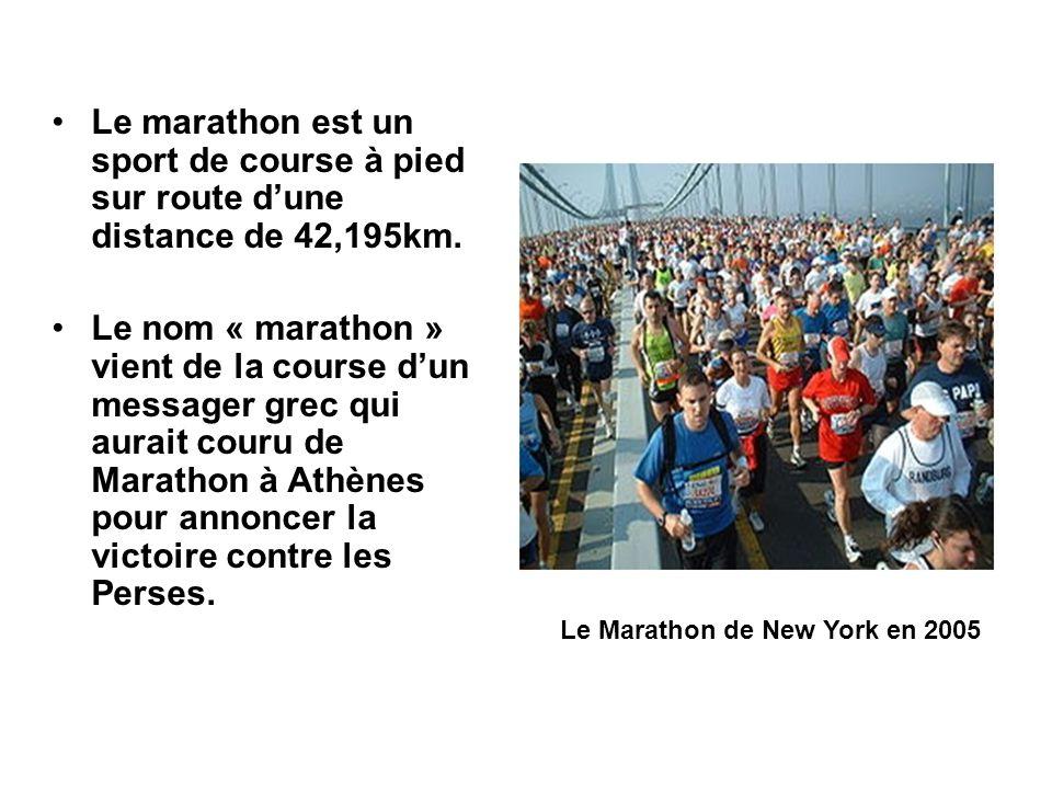 Le marathon est un sport de course à pied sur route dune distance de 42,195km. Le nom « marathon » vient de la course dun messager grec qui aurait cou