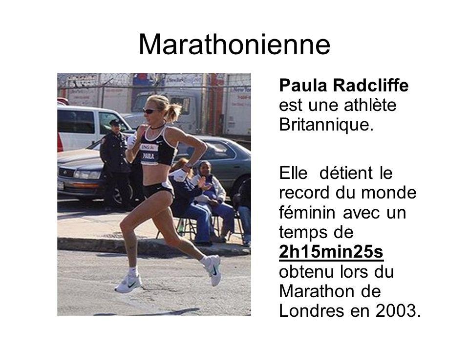 Marathonienne Paula Radcliffe est une athlète Britannique. Elle détient le record du monde féminin avec un temps de 2h15min25s obtenu lors du Marathon