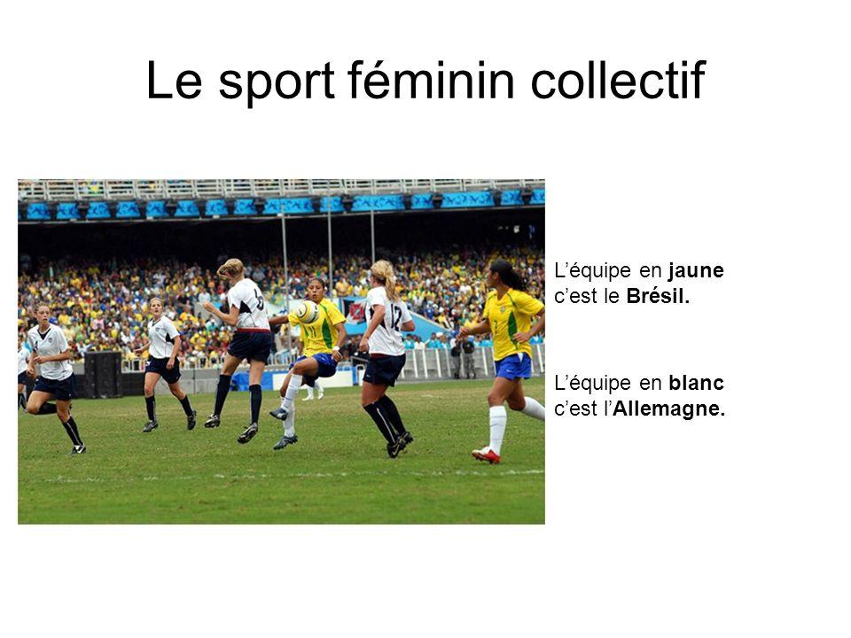 Le sport féminin collectif Léquipe en jaune cest le Brésil. Léquipe en blanc cest lAllemagne.