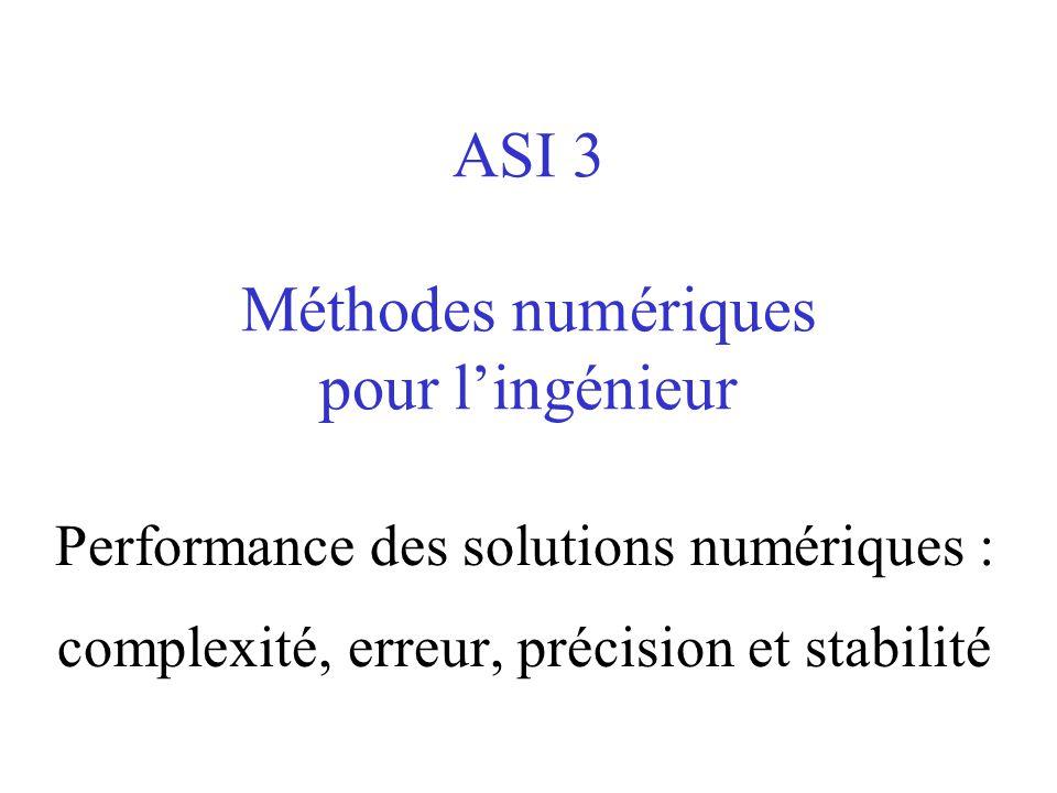 ASI 3 Méthodes numériques pour lingénieur Performance des solutions numériques : complexité, erreur, précision et stabilité