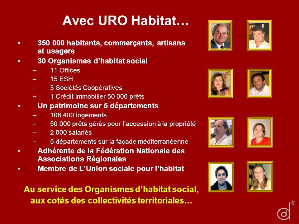 Avec URO Habitat… 350 000 habitants, commerçants, artisans et usagers 30 Organismes dhabitat social –11 Offices –15 ESH –3 Sociétés Coopératives –1 Cr