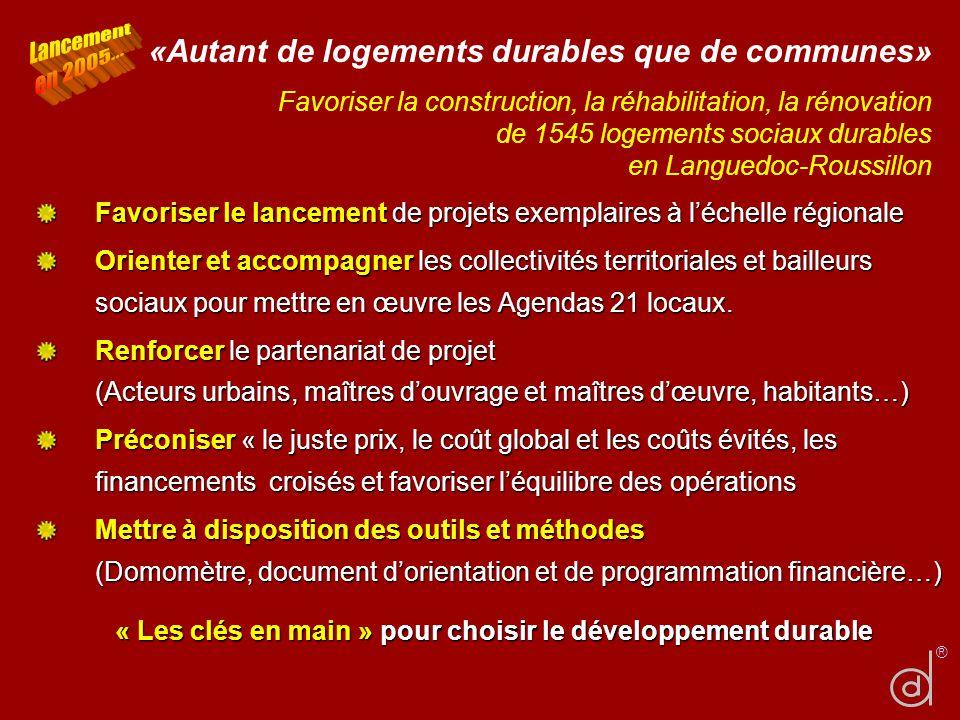 «Autant de logements durables que de communes» Favoriser la construction, la réhabilitation, la rénovation de 1545 logements sociaux durables en Langu